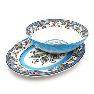 "Euro Ceramica ""Zanzibar"" Platter and Bowl Set"