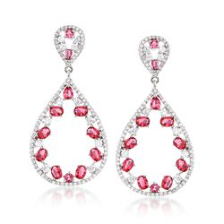 Simulated Ruby and 2.00 ct. t.w. CZ Open Drop Earrings in Sterling Silver, , default