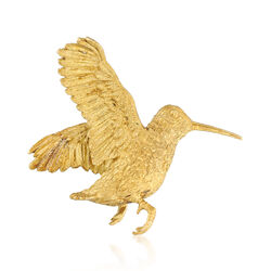 C. 1980 Vintage 18kt Yellow Gold Hummingbird Pin, , default
