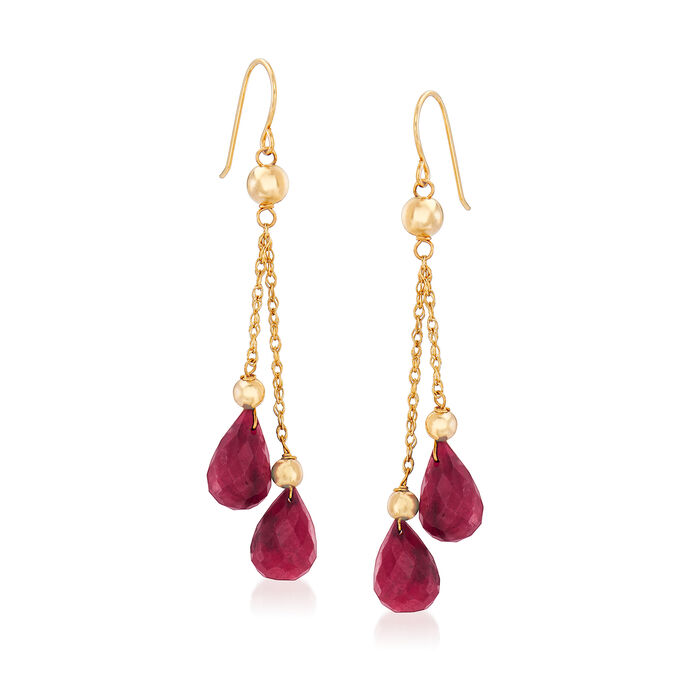 15.00 ct. t.w. Ruby and Bead Double Drop Earrings in 14kt Yellow Gold, , default