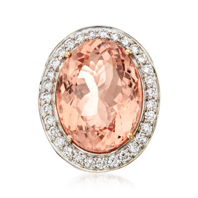 17.00 Carat Morganite and 1.07 ct. t.w. Diamond Ring in 14kt Rose Gold