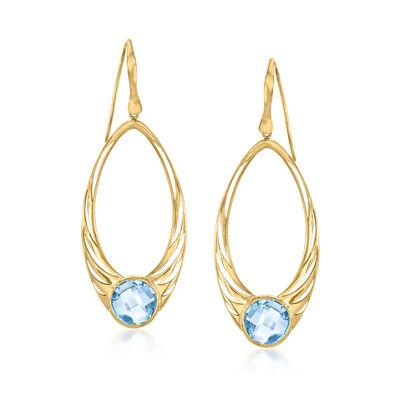 Italian .90 ct. t.w. Sky Blue Topaz Drop Earrings in 14kt Yellow Gold
