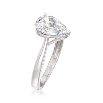 2.00 Carat Pear-Shaped CZ Solitaire Ring in Sterling Silver