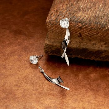 14kt White Gold Twisted Leaf Drop Earring Jackets, , default