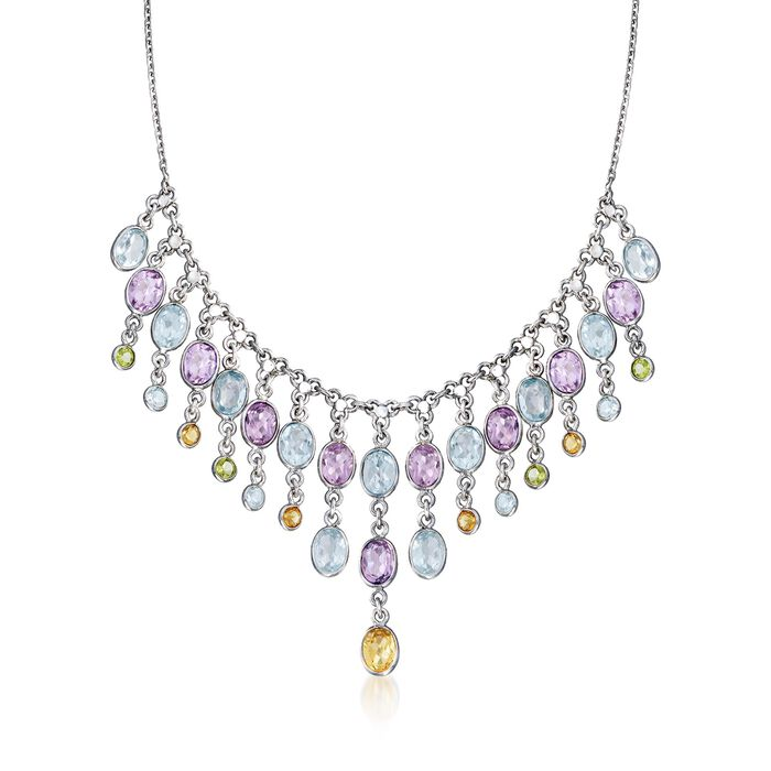"33.50 ct. t.w. Multi-Stone Bib Necklace in Sterling Silver. 17"", , default"