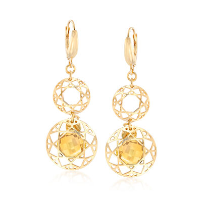 6.25 ct. t.w. Citrine Filigree Drop Earrings in 18kt Gold Over Sterling, , default