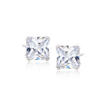 8.00 ct. t.w. Princess-Cut CZ Stud Earrings in Sterling Silver, , default