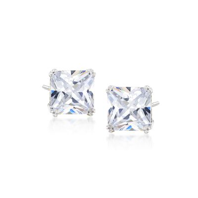 8.00 ct. t.w. Princess-Cut CZ Stud Earrings in Sterling Silver, , default