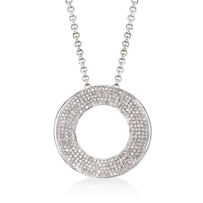 C. 1990 Vintage 1.50 ct. t.w. Diamond Circle Necklace in 14kt White Gold