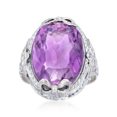 C. 1950 Vintage 9.00 Carat Amethyst Filigree Ring in 14kt White Gold, , default