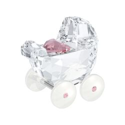 "Swarovski Crystal ""Baby Carriage"" Light Rose and Clear Crystal Figurine, , default"
