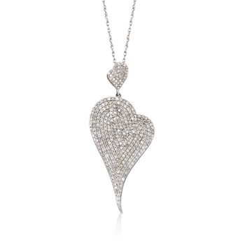 """2.00 ct. t.w. Pave Diamond Heart Pendant Necklace in Sterling Silver. 18"""", , default"""