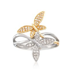 .17 ct. t.w. Diamond Butterfly Bypass Ring in 14kt Two-Tone Gold , , default