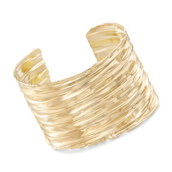 "Italian 24kt Yellow Gold Over Sterling Silver Rippled Cuff Bracelet. 7"", , default"