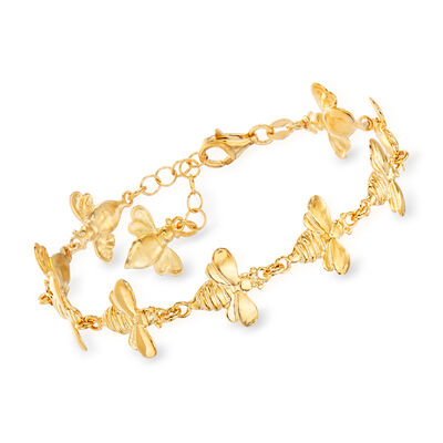 Italian 18kt Gold Over Sterling Bee Bracelet