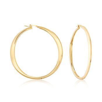 "Italian 18kt Yellow Gold Over Sterling Silver Hoop Earrings. 2 3/8"", , default"