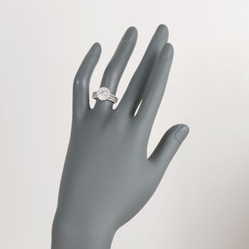 1.00 ct. t.w. Diamond Bridal Set: Double Halo Engagement and Wedding Rings in 14kt White Gold, , default