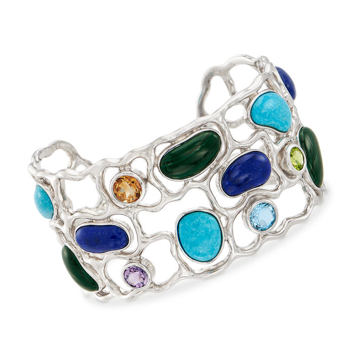 4.40 ct. t.w. Mixed Gem Cuff Bracelet in Sterling Silver, , default