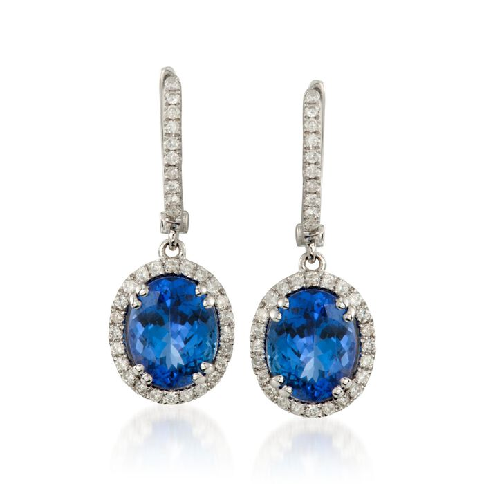 4.65 ct. t.w. Tanzanite and .50 ct. t.w. Diamond Drop Hoop Earrings in 14kt White Gold