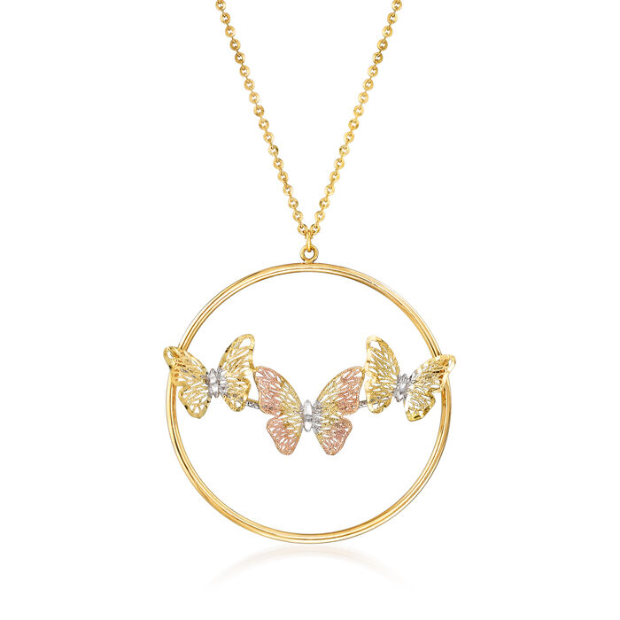 """Italian 14kt Tri-Colored Gold Filigree Butterfly Necklace. 18"""", , default"""