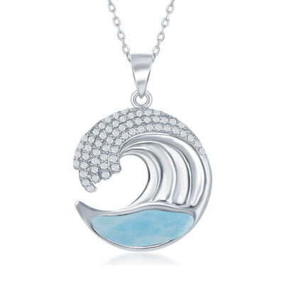 Larimar and .45 ct. t.w. CZ Wave Pendant Necklace in Sterling Silver, , default