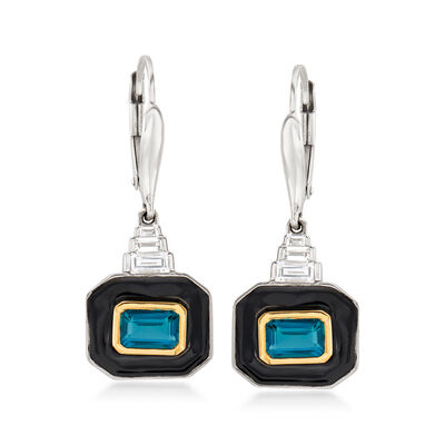 1.40 ct. t.w. London Blue Topaz and .35 ct. t.w. White Topaz Drop Earrings with Black Enamel in Sterling Silver and 14kt Yellow Gold