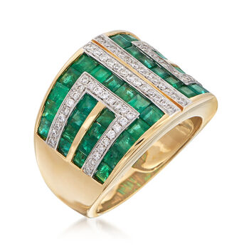2.90 ct. t.w. Emerald and .37 ct. t.w. Diamond Geometric Ring in 18kt Yellow Gold, , default