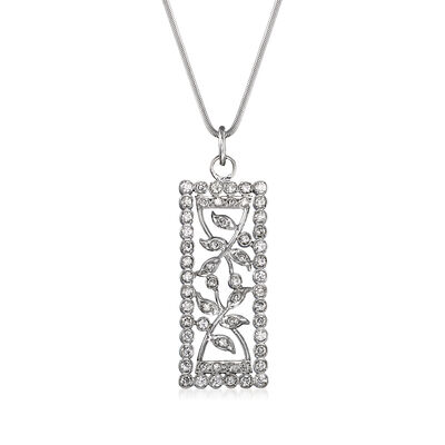 C. 1980 Vintage 1.05 ct. t.w. Diamond Open-Space Leaf Pendant Necklace in 18kt White Gold, , default