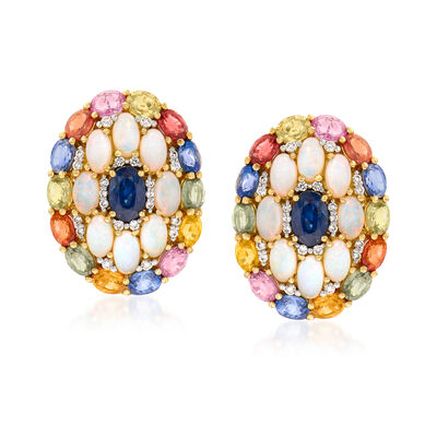 5x3mm Opal, 8.35 ct. t.w. Sapphire and .30 ct. t.w. Diamond Earrings in 18kt Yellow Gold, , default