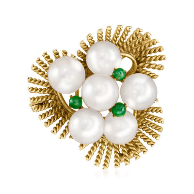 C. 1970 Vintage Jade and 6mm Cultured Pearl Fan Pin/Pendant in 14kt Yellow Gold