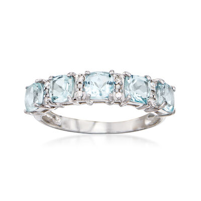 1.70 ct. t.w. Aquamarine Ring with Diamond Accents in 14kt White Gold, , default
