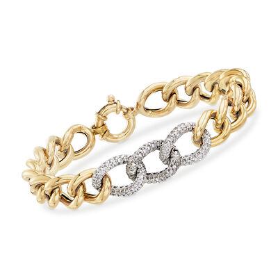 Italian 1.70 ct. t.w. CZ and 14kt Yellow Gold Link Bracelet, , default