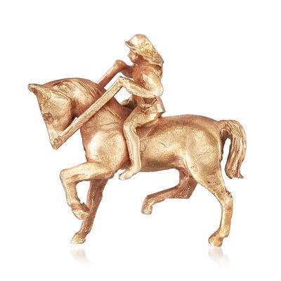 C. 1980 Vintage Horseback Riding Pendant Necklace in 14kt Yellow Gold, , default