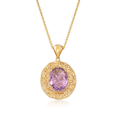 Italian 8.50 Carat Amethyst and 18kt Gold Over Sterling Openwork Pendant Necklace, , default