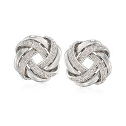 .20 ct. t.w. Diamond Love Knot Earrings in Sterling Silver, , default