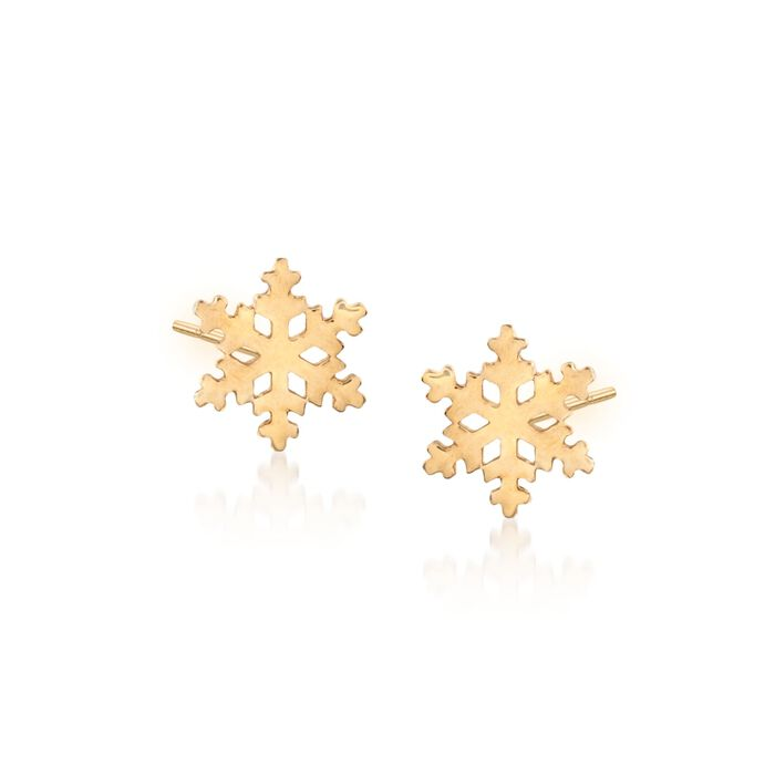 18kt Yellow Gold Snowflake Stud Earrings