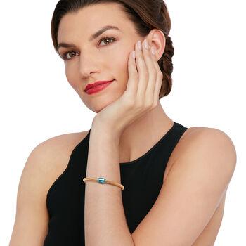 "Italian 14kt Yellow Gold Mesh Tube and Teal Bead Center Bangle Bracelet. 7"", , default"