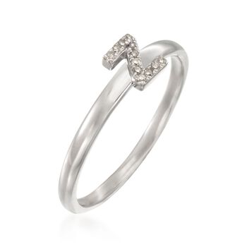 """Diamond Accent Mini Initial """"Z"""" Ring in Sterling Silver, , default"""