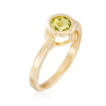 .90 Carat Bezel-Set Peridot Ring in 18kt Gold Over Sterling, , default