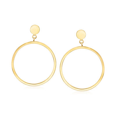 Italian 14kt Yellow Gold Open Circle Drop Earrings, , default