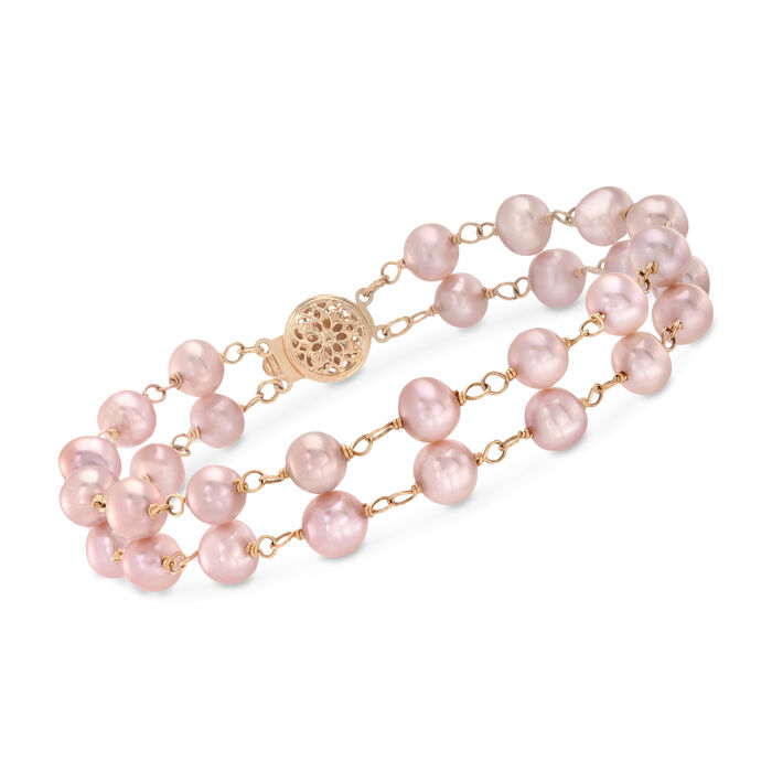 """6-6.5mm Pink Cultured Pearl Bracelet in 14kt Yellow Gold. 7"""", , default"""