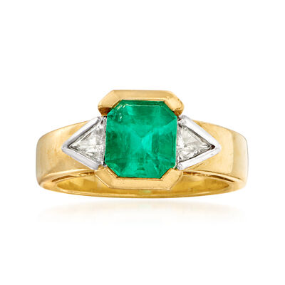 C. 1980 Vintage 2.30 Carat Emerald and .60 ct. t.w. Diamond Ring in 18kt Yellow Gold