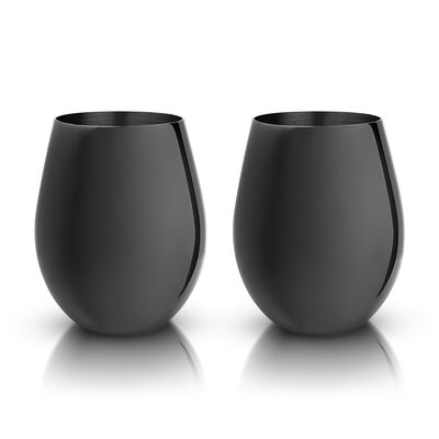 Set of 2 Gunmetal Stainless Steel Wine Glasses