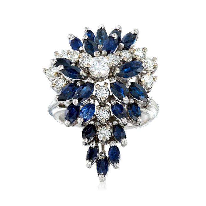 C. 1970 Vintage 2.50 ct. t.w. Sapphire and 1.00 ct. t.w. Diamond Cluster Ring in 14kt White Gold. Size 6.5
