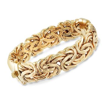 "14kt Yellow Gold Byzantine Bangle Bracelet. 7"", , default"
