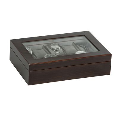 "Mele & Co. ""Hudson"" Mahogany-Finished Wooden Ten-Part Watch Box with Glass Top, , default"