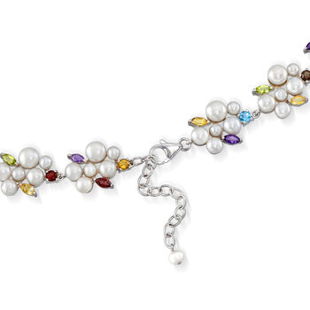 4-7.5mm Cultured Pearl and 17.20 ct. t.w. Multi-Gem Necklace in Sterling Silver, , default