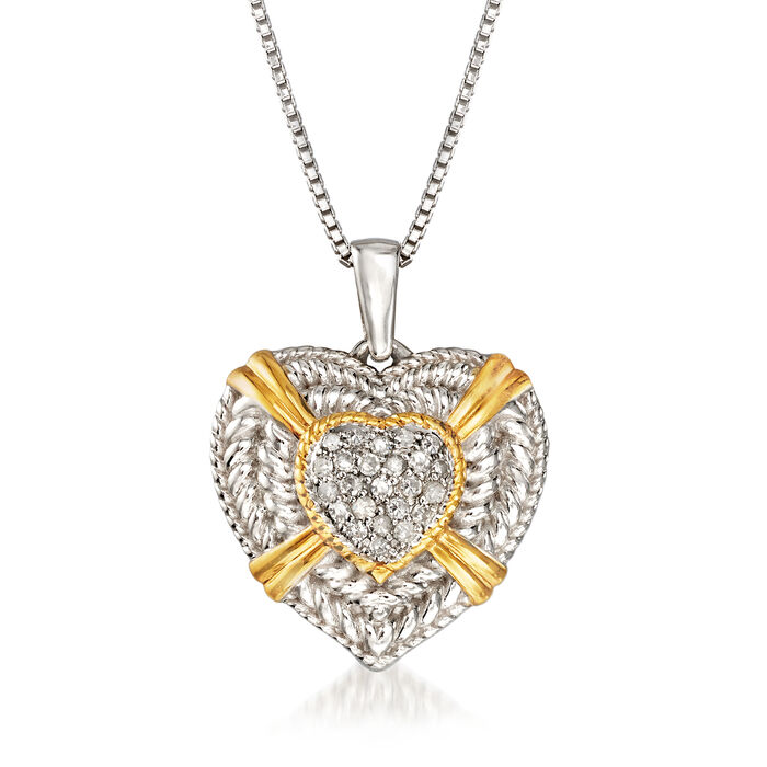 .26 ct. t.w. Diamond Heart Pendant Necklace in Sterling Silver and 18kt Gold Over Sterling