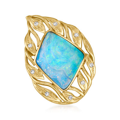 C. 1980 Vintage Opal and .16 ct. t.w. Diamond Pin/Pendant in 18kt Yellow Gold
