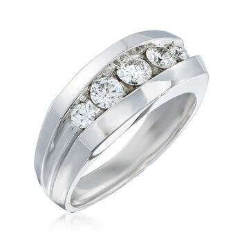 Men's 1.00 ct. t.w. Diamond Wedding Ring in 14kt White Gold. Size 10, , default